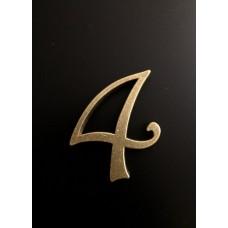 """Цифра """"латунная"""" дверная """"4"""", шрифт Harington"""