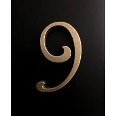 """Цифра """"латунная"""" дверная """"9"""", шрифт Harington"""
