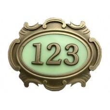 Табличка латунная, английский вариант, 3-и цифры, светится в темноте