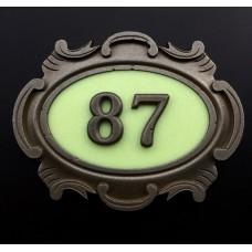 Табличка стальная, английский вариант (2-е цифры), светится в темноте